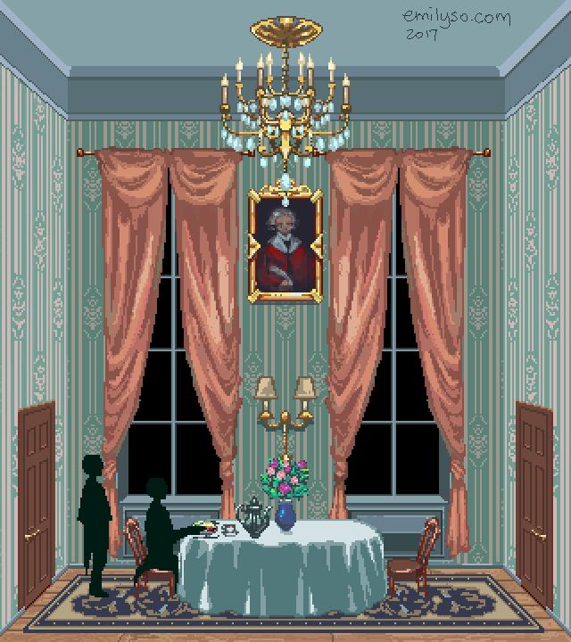 victorian interior pixel art emily so